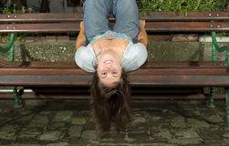 Girl Happy upside down Royalty Free Stock Image