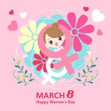 Girl with happy womens day Stock Photo