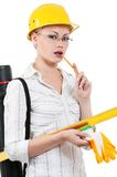 Girl with hard hat Royalty Free Stock Photography