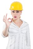 Girl with hard hat Royalty Free Stock Photos