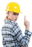 Girl with hard hat Stock Photography