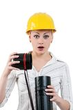 Girl with hard hat Stock Photo