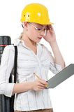 Girl with hard hat Stock Photos
