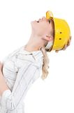Girl with hard hat Royalty Free Stock Images
