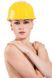 Girl with hard hat Stock Image