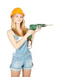 Girl in hard hat with drill Stock Photos