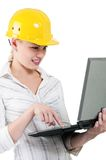 Girl with hard hat Royalty Free Stock Photo