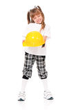 Girl in hard hat Royalty Free Stock Photo