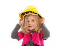 Girl with hardhat Stock Photos
