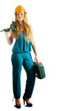 Girl in hardhat with tools Stock Image