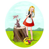 Girl and hare Royalty Free Stock Photo