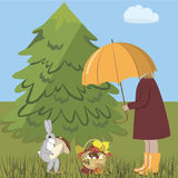 Girl and hare. A girl and a hare gather mushrooms in a forest glade, vector illustration Royalty Free Stock Images
