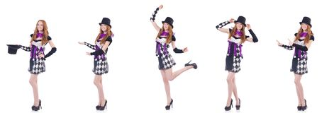 The a girl in harlequin costume isolated on white Stock Photo