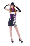 A girl in harlequin costume isolated on the white Stock Photography