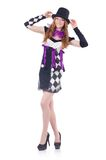 A girl in harlequin costume isolated on the white Stock Photo