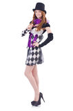 A girl in harlequin costume isolated on white Stock Images