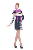 A girl in harlequin costume Stock Images