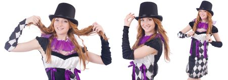 The a girl in harlequin costume isolated on white Stock Photography
