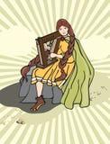 Girl harp. Vector illustration. girl Royalty Free Stock Photo