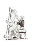 Girl with harp Royalty Free Stock Images
