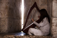 Girl with the harp Royalty Free Stock Photos