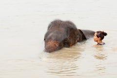Girl has bath with elephant Stock Photos