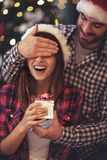 Girl has Christmas surprise Stock Images