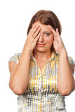 Girl has closed eyes palms and spies Stock Image
