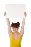 Girl has control over the white poster Royalty Free Stock Photography