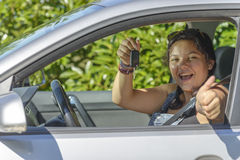 Girl has driving license Stock Image
