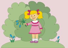 The girl has dug flowers. The girl has dug hand bells on a clearing royalty free illustration
