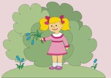 The girl has dug flowers Stock Image