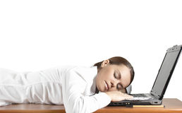 Girl Has Fallen Asleep Behind The Computer Royalty Free Stock Images