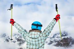 Girl has a fun on ski Royalty Free Stock Image