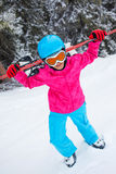 Girl has a fun on ski Stock Photos