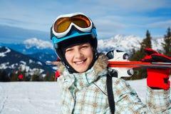 Girl has a fun on ski Royalty Free Stock Photography