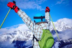 Girl has a fun on ski Royalty Free Stock Photo