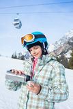 Girl has a fun on ski Stock Image
