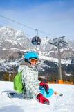 Girl has a fun on ski Stock Photo