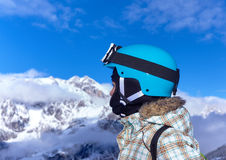 Girl has a fun on ski Royalty Free Stock Photos