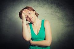 Girl has a head pain Royalty Free Stock Photo