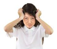 Girl has a headache Stock Image