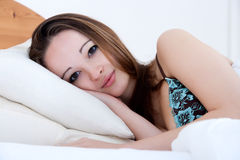 Girl has just woken up Stock Images
