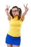 Girl has lifted thumb upwards. Isolated on white background stock photography