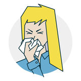 The girl has a runny nose Stock Photography