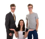 Girl has to choose one boy from two twin brothers, Royalty Free Stock Photos
