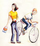 I am not interested in you. The girl has turned away, when she was caught up with the boy on a bicycle stock illustration