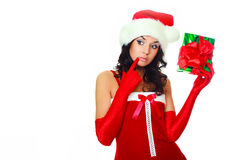Girl hasking a present Stock Image