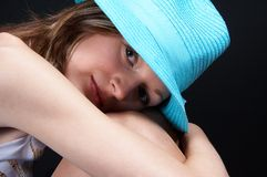 Girl with hat. Young blonde girl with hat, close-up Royalty Free Stock Photography