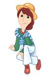 Girl in a hat. The girl in a hat sits. White background. Vector illustration Royalty Free Stock Photos